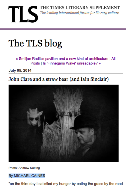 John Clare and a straw bear (and Iain Sinclair) by MICHAEL CAINES