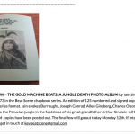 """THE GOLD MACHINE BEATS: A JUNGLE DEATH PHOTO ALBUM"" - chapbook by Beat Scene"